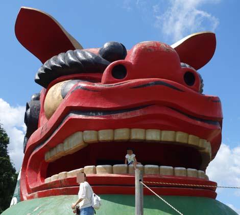 日本一の大きさと言われる巨大な獅子頭「常陸風土記の丘 巨大獅子頭展望台」(茨城石岡)