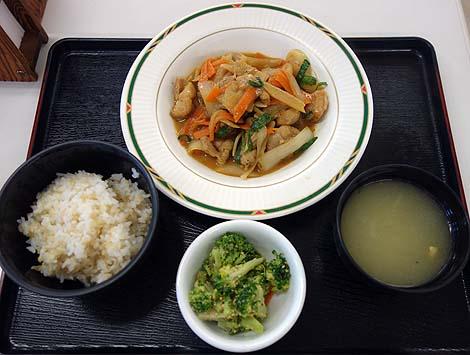 沖縄県庁食堂「南天」(沖縄那覇)職員食堂でワンコインの日替わり定食[鶏肉のスタミナ焼き]をいただく