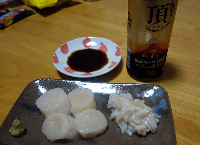 ホタテ貝柱刺身と豚レバースライス(MEGAドン・キホーテ旭川店)/ご当地スーパーめぐり