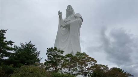 【2020秋の東北車旅16日間4日目】仙台が誇る個性ある巨大像3選!高さ100mの日本一観音様・自家製ケーブルカーで参拝する大仏様・鬼の形相の大仏様