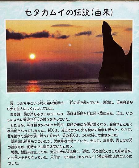 沖に向かって犬が遠吠えをしているかのような奇岩「セタカムイ岩」(北海道古平町)