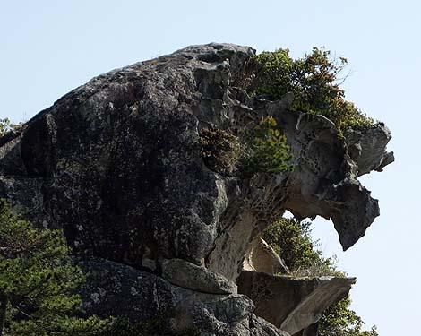海に向かってライオンが吠えているような奇岩「獅子巖」(三重熊野)