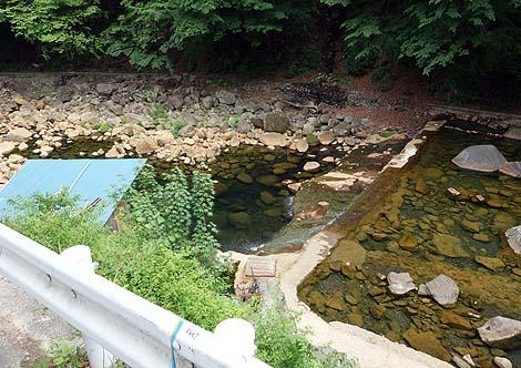 川の底から温泉が湧き出る無料露天風呂!「尻焼温泉 河原野天風呂」(群馬吾妻郡)